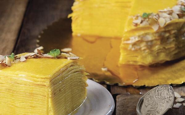 Mango Crepe cake un exquisito postre de sabor tropical