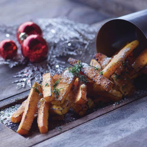Fritas de calabaza con tocino es sabor de la papa en navidad