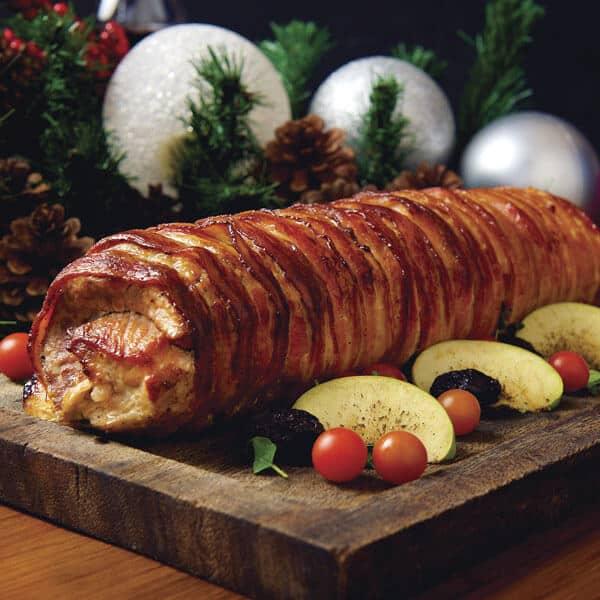 Lomo de cerdo rostizado como platillo principal para navidad